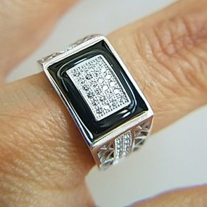 Men's Onyx Ring with CZ 11mm sz 7 8 9 10 11 12 13